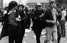 Howard Zinn. Zinn, right, being arrested at an anti-Vietnam war demonstration