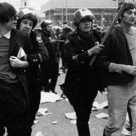 Howard Zinn. Zinn, right, being arrested at an anti-Vietnam war demonstration